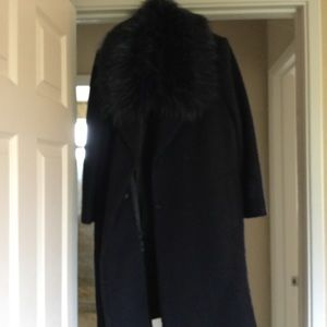 Anthropologie navy coat with fur collar
